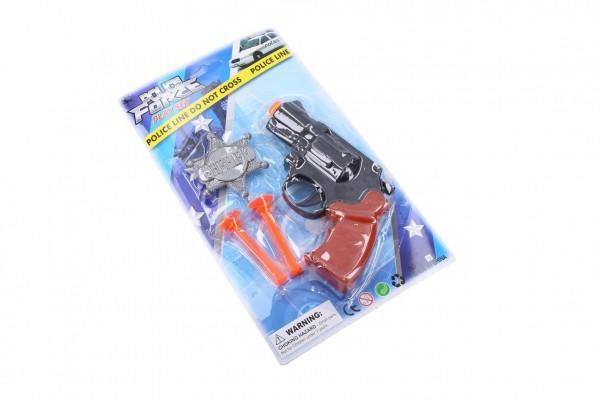 Policejní sada plast pistole na přísavky 14cm náboje 2ks+odznak na kartě
