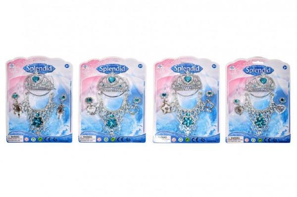 Sada princezna korunka+náhrdelník+náušnice plast asst 4 druhy na kartě 18x25cm 3+