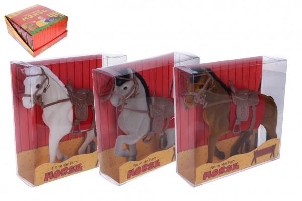 Kůň se sedlem fliška 16cm 3 barvy v krabičce 16x16x5,5cm 12ks v boxu