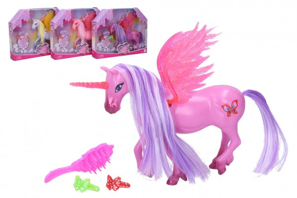 Jednorožec/kůň s křídly česací s doplňky plast 20 cm mix barev v krabičce 25x20x5cm