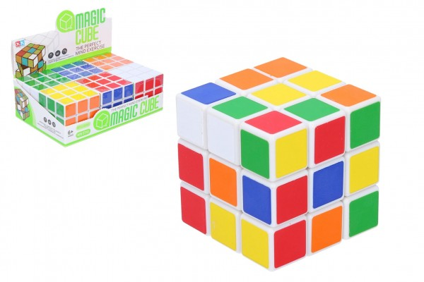 Kostka hlavolam 3x3x3 plast ve fólii 6x6x6cm 6ks v boxu
