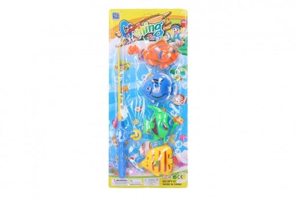 Hra ryby/rybář magnetické plast 4ks+prut plast 30cm na kartě