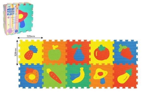 Pěnové puzzle Ovoce Zelenina 30x30cm asst 2 druhy 10ks v sáčku