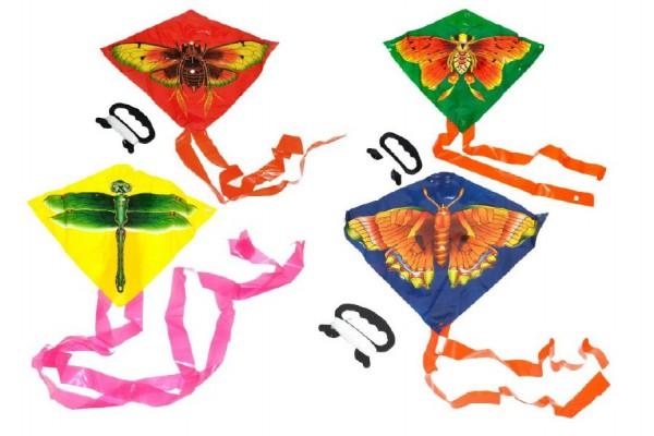 Drak létající plast 27x33cm asst 3 barvy v sáčku