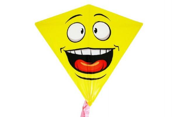 Drak létající smajlík plast 68x73cm v sáčku