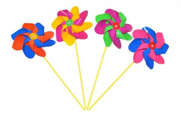 Větrník průměr 20cm barevný plast 52cm asst 3 barvy