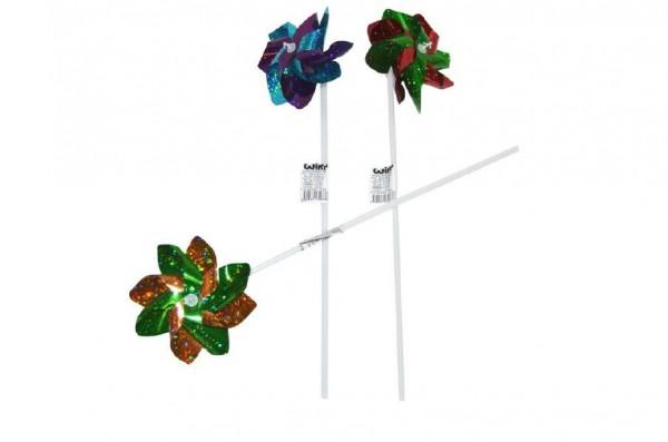 Větrník průměr 10cm barevný plast 43cm asst 6 barev