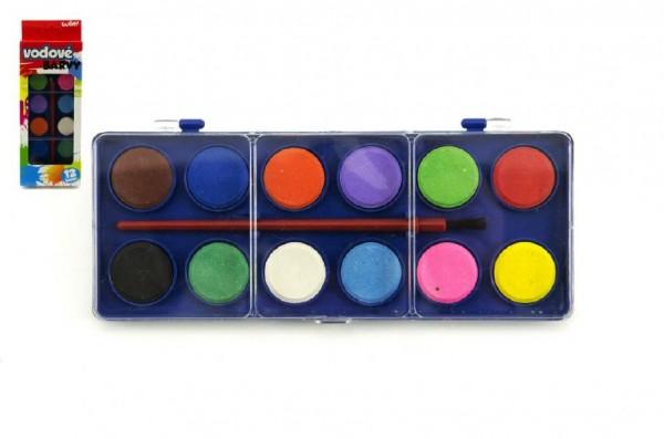 Vodové barvy 12 barev v krabičce 8x19cm