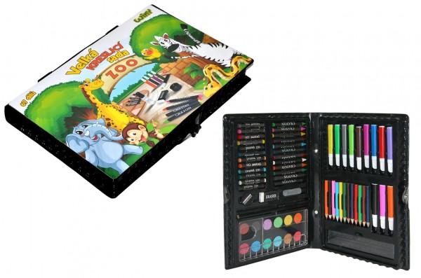 Velká kreslící sada Zoo 67ks v plastové krabičce 31x21x4cm