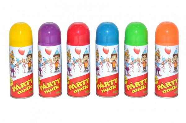 Párty nudle/špagety ve spreji 17cm 250 ml 6 barev karneval