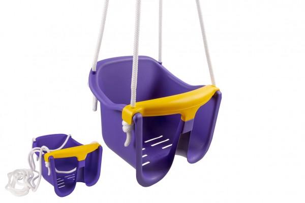 Houpačka Baby fialová plast 33x30x28cm nosnost 25kg v síťce 12m+