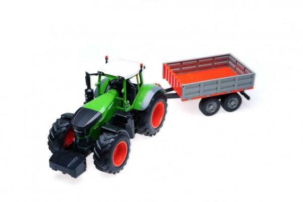 Traktor 68cm se sklápěcím valníkem na dálk. ovládání s dobíj. packem se světlem se zvukem v krabici