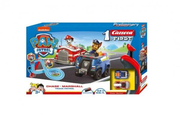 Autodráha Carrera First Paw Patrol/Tlapková Patrola 2,9m plast +2 auta na bat. v krabici 50x30x7cm