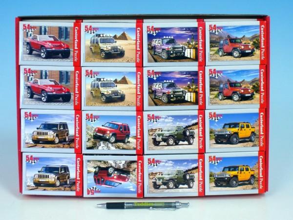 A-08521-M Minipuzzle Auta 54 dílků 16,5x11cm asst 8 druhů v krabičce 32ks v boxu
