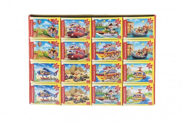 Minipuzzle Dopravní prostředky  54 dílků 16,5x11cm mix druhů v krabičce 9x6,5x3cm 32 ks v boxu
