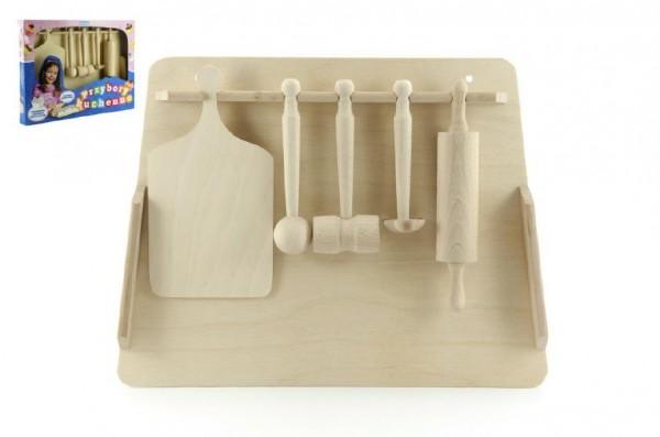 Kuchyňské nádobí prkénko, váleček, palička dřevo v krabici 40x30x4,5cm