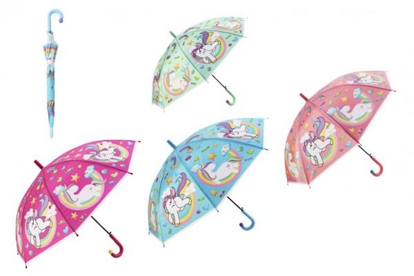 Deštník s motivem Jednorožec plast 66cm 4 barvy