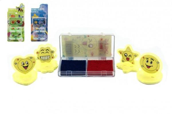 Razítka 4ks s poduškou plast 3cm asst mix druhů na kartě