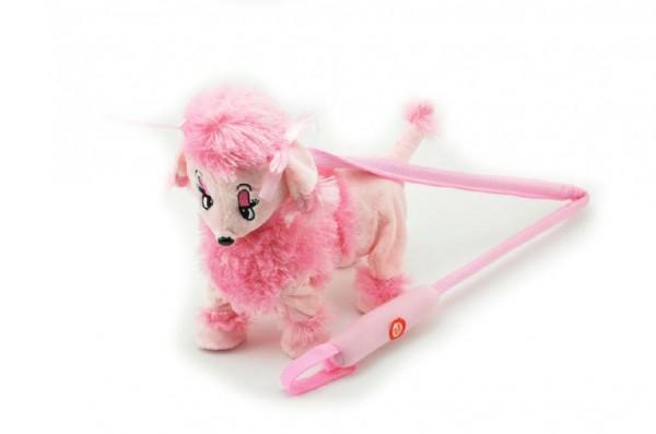 Pes/pejsek Pudl na tyčce růžový chodící a hrající plyš na baterie 30cm