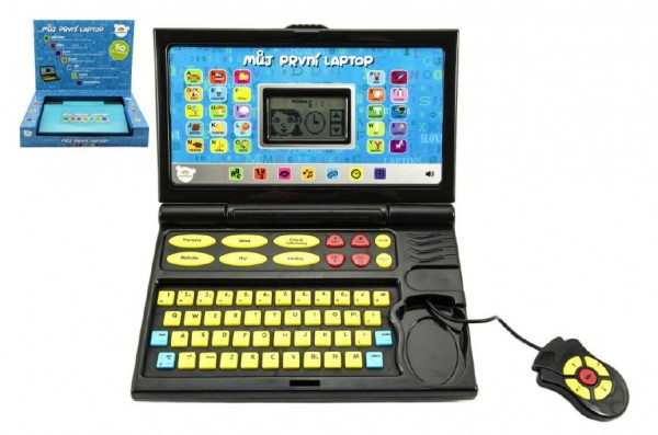 Můj první laptop/notebook černomodrý 50 programů na baterie se zvukem v krabici 33x24x7cm