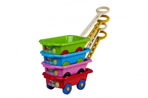 Vozík/Vlečka dětská plast mix barev v sáčku 45x28x16cm 24m+