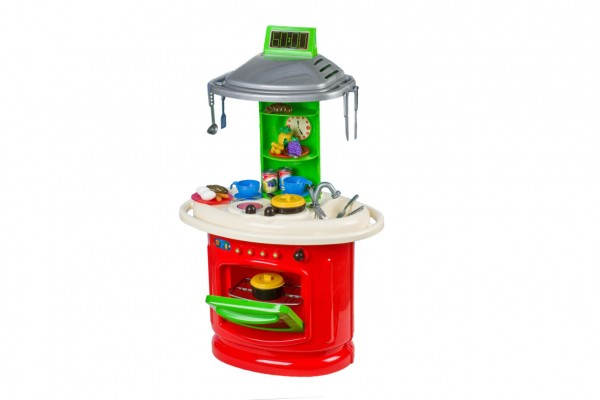 Kuchyňka plast s troubou, myčkou na nádobí s doplňky v krabici 49x69x29cm