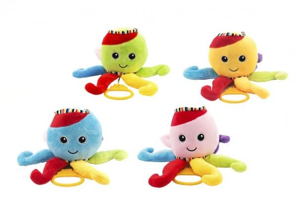 Chobotnice natahovací hrající strojek plyš 30cm asst 4 barvy 0+