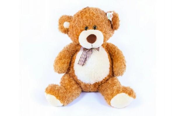 Medvěd s mašlí velký plyš 80cm světle hnědý kudrnatý 0m+