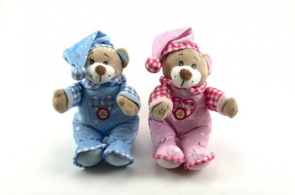 Medvídek s čepicí chrastítko plyš 30cm asst 2 barvy 0+