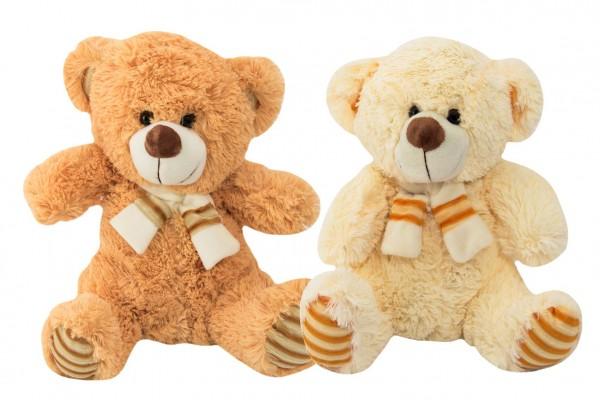Medvěd sedící se šálou plyš 35cm 2 barvy 0+