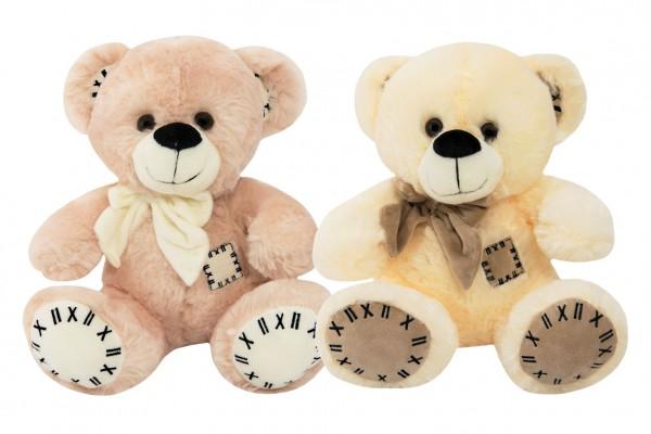 Medvěd s mašlí sedící plyš 28cm 2 barvy 0m+