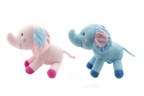 Slon barevný plyš 25cm asst 2 barvy v sáčku 0+