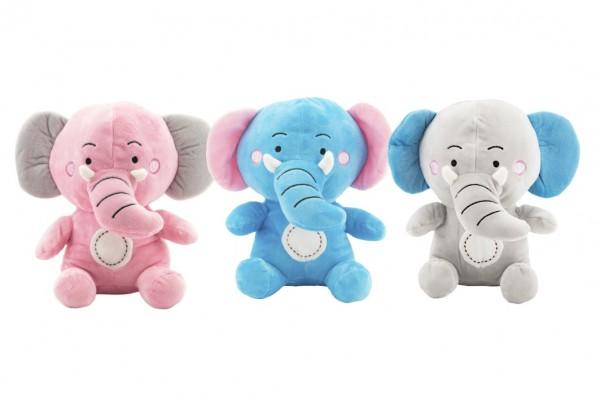 Slon sedící plyš 24cm 3 barvy v sáčku 0+