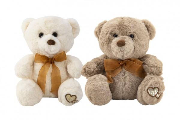Medvěd/Medvídek sedící se mašlí plyš 20cm 2 barvy v sáčku 0+