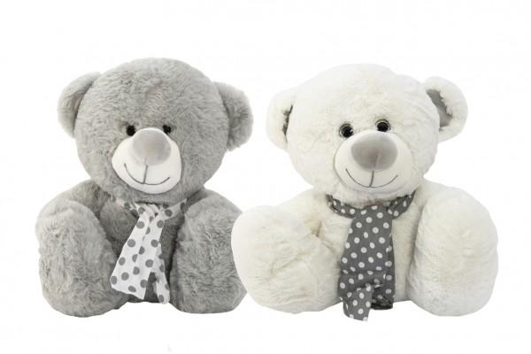 Medvěd/Medvídek sedící se šátkem plyš 2 barvy 25cm v sáčku 0+