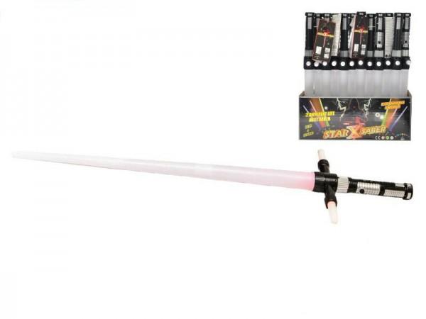 Laserový meč svítící skládací plast 86cm na baterie se zvukem asst 3 barvy 12ks v boxu
