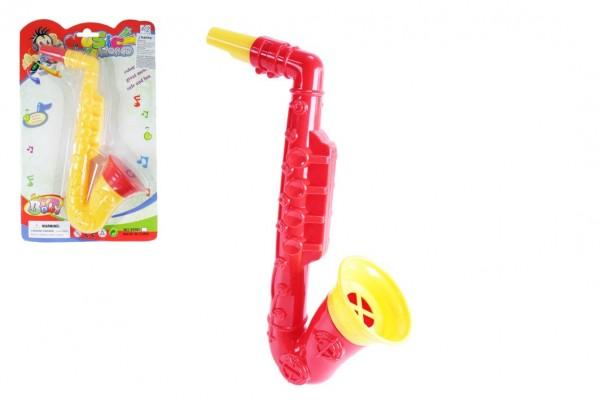 Saxofon plast 23cm 2 barvy na kartě