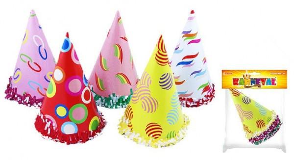 Klobouk party papírový 22x15cm 6ks asst 2 barvy v sáčku karneval