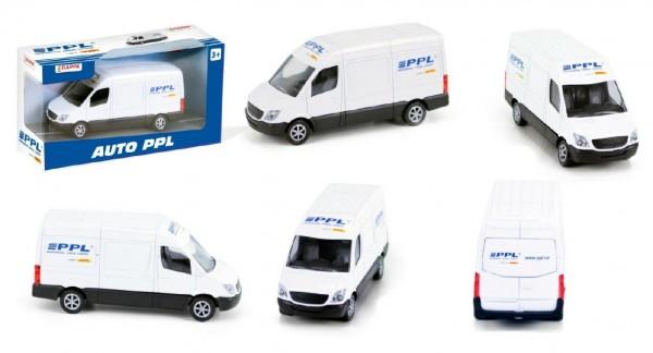 Auto dodávka PPL kov 11cm na volný chod v krabičce 16x9x5cm