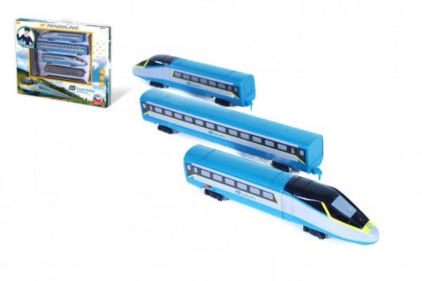 Vlak/SC Pendolino České dráhy s kolejemi plast na baterie se zvukem se světlem v krabici 55x43x5,5cm