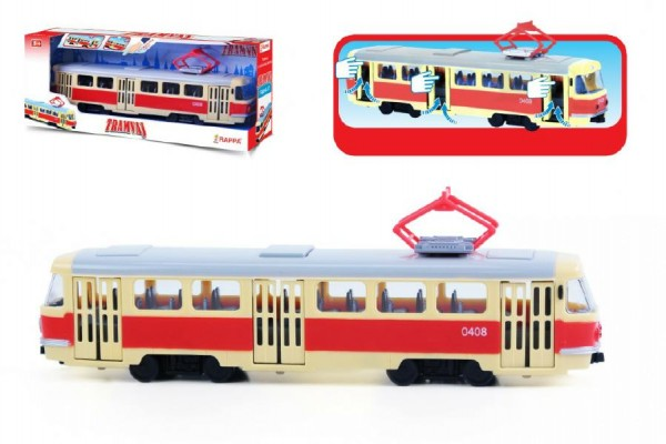 Tramvaj s funkčními dvěřmi plast 27cm na volný chod v krabičce 30x12x8cm