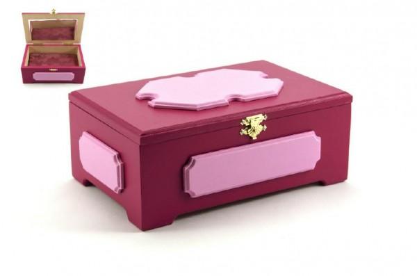 Skříňka šperkovnice se zrcadlem dřevo růžová 20x13x8cm