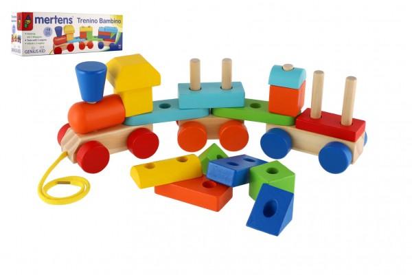 Vlak + 2 vagóny dřevo tahací stavebnice 19 dílků v krabičce 37x12x9cm 18m+