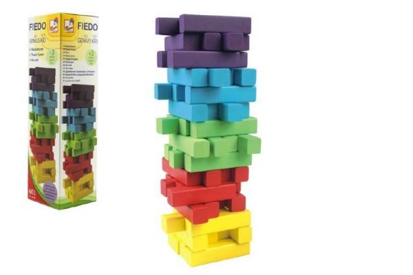 Hra Jenga věž 60 dílků dřevo mix barev v krabičce 7,5x27,5cm