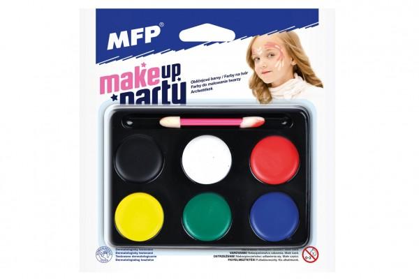Barvy na obličej se štětečkem 6 barev na paletce na kartě 15,5x16cm