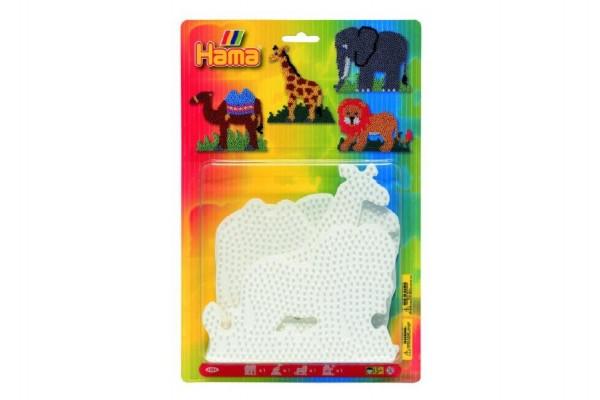 Podložka na zažehlovací korálky - slon,žirafa,lev,velbloud 4ks na kartě 19x20cm