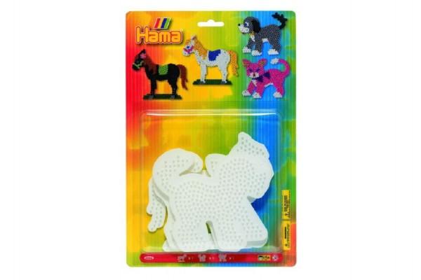 Podložka na zažehlovací korálky - kočka,kůň,pes 3ks na kartě 19x20cm