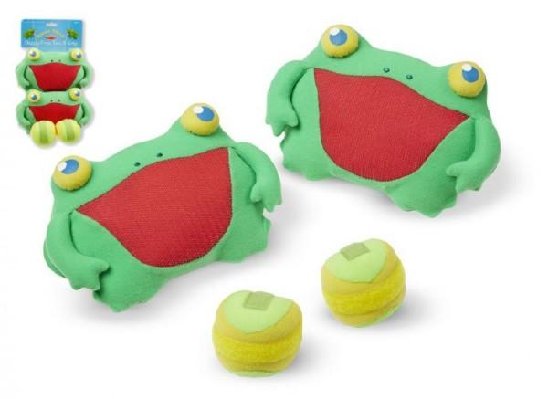 Catch ball/Lambada skokaní zábava hra žáby chňapky se suchým zipem 2ks plyš na kartě