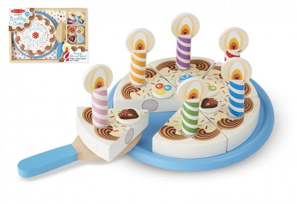 Narozeninový dort 34ks dřevěný průměr 20cm s doplňky v dřevěné krabici 33x23x4cm