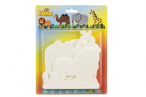 Podložka na zažehlovací korálky Hama slon,žirafa,lev,velbloud 4ks na kartě 19x24cm